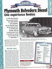 Plymouth Belvedere Diesel Berline  4 Cyl. 1955 USA Car Auto Retro FICHE FRANCE