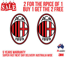 2 x AC MILAN FC Logo Stickers for your Car, Boat, Truck... High Quality Vinyl
