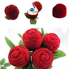 Bague Ecrin Boîte à bijoux Rose Forme Rouge en velours pr Mariage Anniversaire