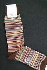 Paul Smith Mens Mid Length Socks Signature Stripes Brown F599 OneSize Cotton Mix