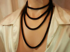 FAB Vintage 20's Black Glass Seed Beed Flapper Necklace 237S6