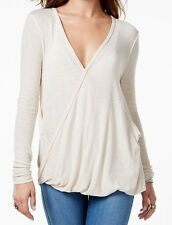 Free People NEW Almond Beige Women Size Large L  Pull-Over Faux-Wrap Top $68 186