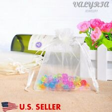 100 Clear White Drawstring Jewelry Pouches Wedding Party Candy Gift Bags 9x12cm