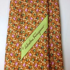 New Without Tag SALVATORE FERRAGAMO Ladybug Print 100% Silk Tie Made In ITALY