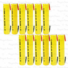 12 piece 5/4 AAA 3A 900mAh NiMh Rechargeable Battery Flat Top with Tab Yellow