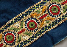 Blue Hand-Embroidered Tribal Trim Kutch India Mirror Banjara Fabric Embroidery