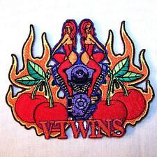 VTWIN CHICKS CHERRIES EMBROIDERED PATCH P431  Iron on biker JACKET patches NEW
