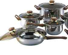 12 Piece Non Stick Pots and Pans Stainless Steel Cookware Set Kitchen Cooking