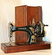 1913 RARE ANTIQUE ORIGINAL SINGER 128 MOD LA VENCEDORA HAND CRANK SEWING MACHINE