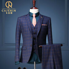 Cajerin Vintage Royal Blue Mens Plaid Suit/Wedding Tuxedo. Slim Fit