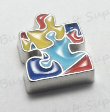 Floating AUTISM AWARENESS Puzzle Charm for Living Memory Lockets USA seller