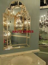 "NEW STUNNING LARGE 42""H ARCH VENETIAN SILVER MODERN BEVELED Wall Vanity Mirror"