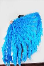 """Burlesque Dance Blue Waterfall fan Fluffy Ostrich Feathers boa Fan  42""""x 78"""""""