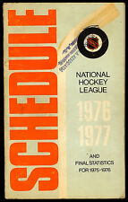 1976-77 nhl hockey official schedule and final 1975-76 final statistics 48 page