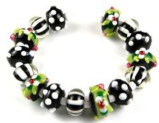 Lampwork Glass Beads Black Green White Bumpy Flower Dot Handmade Loose Rondelle
