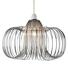 Modern Chrome Metal Wire Ceiling Light Easy Fit Shade Designer Style Bedroom NEW