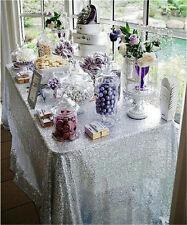 6FT Rectangle Silver Sequin Tablecloth, Sequin Wedding Tablecloth for wedding