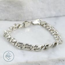 "Sterling Silver | 8mm Curb Chain 27.2g | Bracelet (7.25"") Mens LG1603"