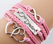 One Direction 1D Bracelet in Pink with Infinity Symbol and Two Joined Hearts