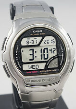 Casio Mens Black Atomic WAVECEPTOR Steel Band World Time Watch WV58DA-1A New