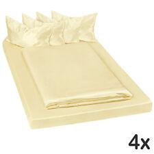 4x Parure lit 100% satin polyester housse de couette 200x150 taie oreiller jaune