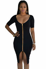 Abito aperto Nudo aderente Zip scollo spacco Nude Zipper Midi Dress clubwear M