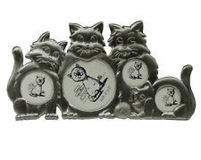 silver cat photo frame • vintage cute cartoon small pewter stand up • 4 pictures