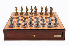 "Dal Rossi Italy Red Mahogany Finish chess box with compartments 18"" with Medieva"