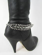 Women Silver Metal Chain Boot Bracelet Western Shoe Charm Anklet Punk Rock Spike