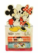 MINNIE+MICKEY MOUSE 2pc Lip Balm GREAT JUICY Cherry+Bubble Gum DISNEY Set/Lot