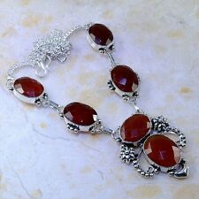 """BEAUTIFUL CHERRY RUBY GEMSTONE SILVER NECKLACE 18""""  FREE SHIPPING"""