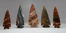 5 PCS SPEARHEAD LOT ~ SPEAR POINT HEAD STONE ARROWHEADS WIRE WRAP PENDANT POINTS