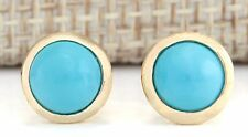 3.00CTW NATURAL TURQUOISE EARRINGS 14K SOLID YELLOW GOLD