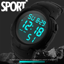 Black Men LED Digital Date Military Sport Rubber Quartz Watch Alarm Waterproof