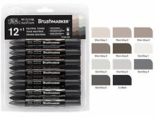 Winsor & Newton Brushmarker 12 Pen Brush Marker Set - Neutral Tones - Greys