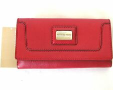 NEW MICHAEL KORS BROOKVILLE RED GENUINE LEATHER CARRY ALL WALLET,CLUTCH