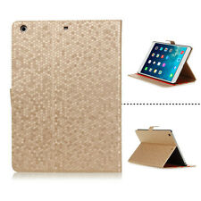 LIGHT BROWN HEXAGON PATTERN PROTECTIVE LEATHER CASE COVER FOR APPLE iPAD AIR