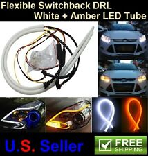 2X 60CM Flexible Switchback Dual Color DRL Eyelid Turn Signal LED Light Strip