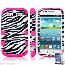 Black White Pink Zebra Hybrid Rugged Rubber Case Cover For Samsung Galaxy S3 III