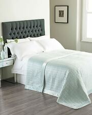 QUILTED FAUX SILK VELVET BORDER DUCK EGG BLUE 240X260CM BEDSPREAD THROW