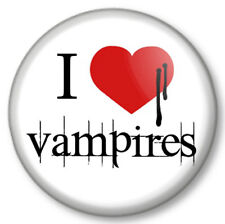 "I Love / heart Vampires 25mm 1"" Pin Button Badge Halloween Twilight True Blood"
