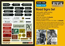 WW II - Road Signs Suit scales 1/16 models and Dioramas