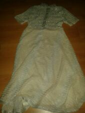 vintage 1960's wool knit sparkly ivory silver button front dress short sleeve 10