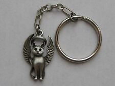 Pewter Kitty-Cat Guardian Angel Keychain/Christmas Ornament~Memorial Keepsake~