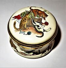 HALCYON DAYS ENAMEL BOX - CATS & A KNITTING BASKET - KITTENS - NEIMAN MARCUS