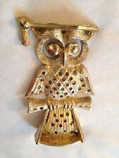 """Brass Metal 4 1/2"""" Wise OWL Graduation Figurine Earring Jewelry Holder"""