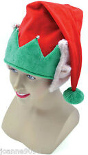 ADULT RED GREEN CHRISTMAS FANCY DRESS COSTUME ELF HAT WITH POINTED PIXIE EARS
