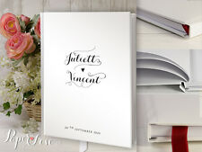 A4 Wedding Guest Book Simple Black and White Personalised Handmade 50 Pages