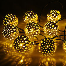 20 led Solar Powered Silver ball Outdoor String Lights Outside Garden Xmas