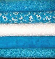 "Quilting Fabric Jelly Roll Strips 20~2.5"" Turquoise White Cotton Quilt Fabric"